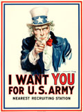 "Movie Posters:War, World War I Propaganda by James Montgomery Flagg (Leslie-Judge Co., 1917). Poster (30"" X 40.5"") ""I Want You for U.S. Army.""..."