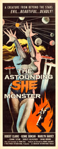 "Movie Posters:Science Fiction, The Astounding She Monster (American International, 1958). Insert (14"" X 36"") Albert Kallis Artwork.. ..."