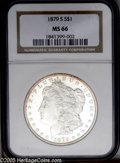 Morgan Dollars: , 1879-S $1 MS66 NGC. PCGS Population (5387/1076). NGC Census:(4381/1241). Mintage: 9,110,000. Numismedia Wsl. Price: $340.(...