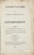 Books:Americana & American History, Thomas Paine. Dissertation on First-Principles ofGovernment. London: 1795. Second edition....