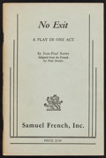 Books:Literature 1900-up, [Paul Bowles, translator]. Jean-Paul Sartre. No Exit.London: [1958]. Acting edition, uncommon first state, signed b...(Total: 3 Items)