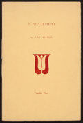 Books:Literature 1900-up, Kay Boyle. A Statement. [No place: 1932]. First edition,limited to 175 copies and signed by the author....
