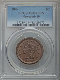 1847 1C N-10, R.3, MS64+ Brown PCGS. PCGS Population: (1/1 and 1/0+). NGC Census: (0/0 and 0/0+). CDN: $345 Whsle. Bid f...