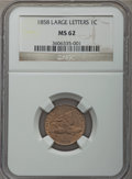 Flying Eagle Cents: , 1858 1C Large Letters MS62 NGC. NGC Census: (14/143). PCGS Population: (214/1190). Mintage 24,600,000. ...