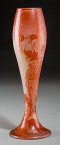 Art Glass:Galle, A Galle Overlay Glass Vase with Chrysanthemum Motif, Nancy, France,circa 1900. Marks in cameo: Galle, I. 13-5/8 inches ...