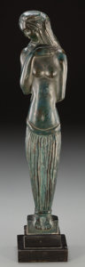 Bronze:American, José De Creeft (American, 1884-1982). Standing Woman .Bronze with green patina. 16-1/2 inches (41.9 cm) high on a 2inc...
