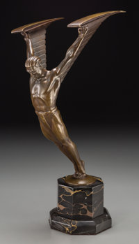 Otto Schmidt-Hofer (German, 1873-1925) Icarus Bronze with golden brown patina 11 inches (27.9 cm)