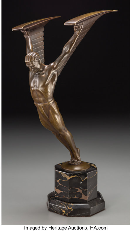 Otto Schmidt-Hofer (German, 1873-1925)IcarusBronze with golden brown patina11 inches (27.9 cm) high on a 3-1/8 inc...
