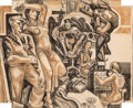 Fine Art - Work on Paper:Drawing, James Henry Daugherty (American, 1889-1974). Mural Study.Charcoal on paper. 17-1/2 x 21-1/4 inches (44.5 x 54.0 cm) (si...