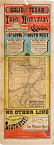 "Miscellaneous:Maps, Railroad Broadside with Map: ""Solid for Texas. The Iron MountainRoute is now Running Two Solid Trains from St. Louis to the S..."