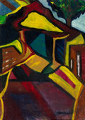 Fine Art - Painting, American:Modern  (1900 1949)  , Mary Barta (Hungarian, 1897-1969). Abstract Cityscapes(double-sided work). Oil on board. 27-3/4 x 20 inches (70.5 x50....