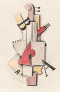 Fine Art - Work on Paper:Drawing, Attributed to Aaron Broun (American, 20th Century). AbstractViolin, 1920. Crayon on paper. 10-3/8 x 6-1/2 inches (26.4 ...
