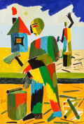 Fine Art - Painting, American:Modern  (1900 1949)  , Russian School (20th Century). Wood Chopping. Gouache,watercolor, and pencil on paper. 11-1/2 x 7-3/4 inches (29.2 x19...