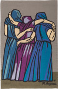 Fine Art - Painting, American:Contemporary   (1950 to present)  , Raúl Anguiano (Mexican/American, 1915-2006). Untitled (threefigures) Tapestry, 1976. Flat-weave wool. 62 x 40 inches (1...(Total: 2 Items)