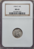 Barber Dimes: , 1904-S 10C MS62 NGC. NGC Census: (18/28). PCGS Population: (11/47). Mintage 800,000. ...