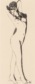 Fine Art - Work on Paper:Drawing, Harry V Morningstern (American, 20th Century). Stretching FemaleNude; Smiling Nude (a double sided work), 1933. Ink on ...