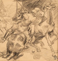 Fine Art - Work on Paper:Drawing, Ben Messick (American, 1891-1981). Polo Players. Charcoal onpaper. 9 x 9 inches (22.9 x 22.9 cm) (sight). Initialed low...