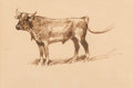 Fine Art - Work on Paper:Drawing, Edward Borein (American, 1873-1945). Steer and ConversingCowboys (two works). Ink on paper; Etching and aquatint. 6...(Total: 2 Items)