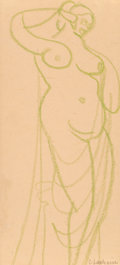 Fine Art - Work on Paper:Drawing, Gaston Lachaise (French/American, 1882-1935). Female Nude.Crayon on cream paper. 11-3/4 x 5-1/4 inches (29.8 x 13.3 cm)...