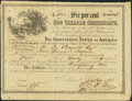 Confederate Notes:Group Lots, Ball 369 Cr. 154 $5000 1864 Six Per Cent Non Taxable CertificateVery Fine.. ...