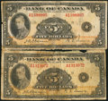 Canadian Currency: , BC-5 $5 1935 Two Examples. ... (Total: 2 notes)