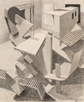 Fine Art - Work on Paper:Drawing, Paul Kelpe (American, 1902-2002). Untitled, 1936. Mixedmedia on board. 7-1/4 x 6 inches (18.4 x 15.2 cm) (image). Signe...