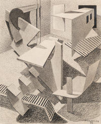 Paul Kelpe (American, 1902-2002) Untitled, 1936 Mixed media on board 7-1/4 x 6 inches (18.4 x 15
