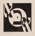 Fine Art - Work on Paper:Drawing, Louis Lozowick (American, 1892-1973). Hai (Abba). Ink onpaper. 3-3/4 x 3-3/4 inches (9.5 x 9.5 cm) (image). Bears signa...