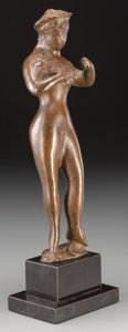 Sculpture, Elie Nadelman (American, 1882-1946). Standing Female Figure. Bronze with brown patina. 8-7/8 inches (22.5 cm) high on a ...
