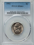 Jefferson Nickels, 1952 5C MS66+ PCGS. PCGS Population: (75/3 and 4/1+). NGC Census: (127/15 and 1/0+). Mintage 63,900,000. ...