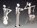 Paintings, A Group of Three Art Deco Nickel-Plated Jazz Musicians, in the manner of Franz Hagenauer, 20th century. Marks: WHW, FRANZ,... (Total: 3 Items)