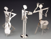 A Group of Three Art Deco Nickel-Plated Jazz Musicians, in the manner of Franz Hagenauer, 20th century Marks: W