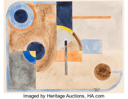 Paul Kelpe (American, 1902-2002) Untitled (Abstract), 1926 Watercolor on paper 7-3/4 x 9-7/8 inches (19.7 x 25.1 cm) ...