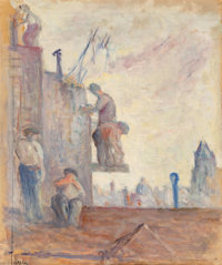 Maximilien Luce (French, 1858-1941) Luce Sur les Toits (Bricklayers) Oil on board 18-3/4 x 15-3/4