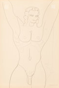 Fine Art - Work on Paper:Drawing, Gaston Lachaise (French/American, 1882-1935). Standing Male Nude(Lincoln Kirstein). Pencil on paper. 17-3/4 x 12 inches...