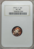 Roosevelt Dimes, 1949-S 10C MS68 NGC. NGC Census: (12/0). PCGS Population: (4/0). Mintage 13,510,000. ...