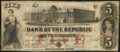 Obsoletes By State:Rhode Island, Providence, RI- Bank of the Republic $5 Nov. 3, 1855. ...