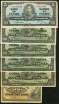Canadian Currency: , 1900 and 1937 Canadian Notes.. ... (Total: 6 notes)