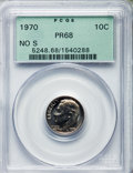 Proof Roosevelt Dimes, 1970 10C No S PR68 PCGS. PCGS Population: (84/13). NGC Census:(58/21). Mintage 2,200. ...