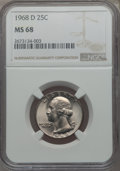 Washington Quarters, 1968-D 25C MS68 NGC. NGC Census: (11/0). PCGS Population: (7/0). Mintage 101,534,000. ...