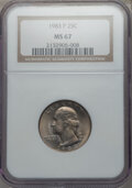 Washington Quarters, 1983-P 25C MS67 NGC. NGC Census: (8/0). PCGS Population: (12/0). Mintage 673,534,976. ...