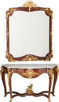 Furniture : French, A Louis XVI-Style Gilt Bronze-Mounted Inlaid Mahogany Marble TopConsole and Mirror, in the style of François Linke, second ...(Total: 2 Items)