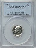 Proof Roosevelt Dimes: , 1962 10C PR69 Deep Cameo PCGS. PCGS Population: (62/0). NGC Census:(70/0). ...