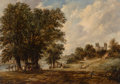 Fine Art - Painting, European:Antique  (Pre 1900), Alfred Vickers (British, 1786-1868). Banks of the Medway(Rochester Castle), 1852. Oil on canvas. 11-1/2 x 16-1/2inches...