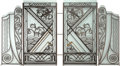 Decorative Arts, French, An Art Deco Wrought Iron and Frosted Glass Screen in the Style ofEdgar Brandt, circa 1925. 57 h x 100 w inches (144.8 x 254...