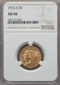 Indian Half Eagles: , 1913-S $5 AU58 NGC. NGC Census: (664/421). PCGS Population:(223/345). CDN: $725 Whsle. Bid for problem-free NGC/PCGS AU58....