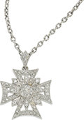 Estate Jewelry:Pendants and Lockets, Diamond, White Gold Pendant-Necklace, Gabriel & Co.. ...