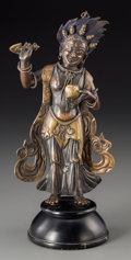 Asian:Chinese, A Fine Chinese Copper-Inlaid Bronze and Silver Mounted Figure ofWrathful Vajrapani Bhutadamara, Qing Dynasty, Qianlong Peri...