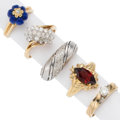 Estate Jewelry:Rings, Diamond, Garnet, Lapis Lazuli, Gold Rings. . ... (Total: 5 Items)