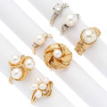 Estate Jewelry:Rings, Diamond, Cultured Pearl, Gold Rings. ... (Total: 6 Items)